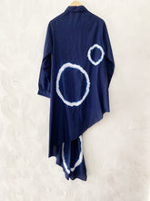 Blue Shibori Asymmetrical Shirt Dress