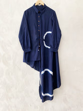 Load image into Gallery viewer, Blue Shibori Asymmetrical Shirt Dress