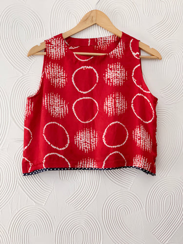 Hand-done Shibori Silk Crop Top
