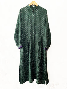 Green Bandhani Silk Kurta with plain pants