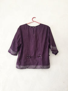 BlackCurrant Bandhani Top
