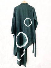 Load image into Gallery viewer, Bottle Green Shibori Asymmetrical Shirt Dress