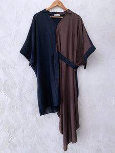 BROWN AND BLUE HALF AND HALF TUNIC