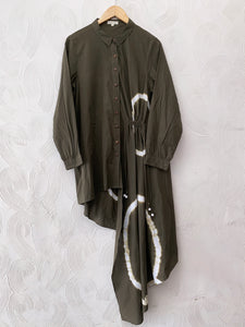 Olive Green Shibori Asymmetrical Shirt Dress