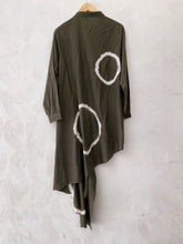 Load image into Gallery viewer, Olive Green Shibori Asymmetrical Shirt Dress