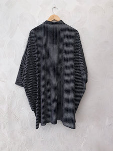 Black Stripes Asymmetrical Drawstring Top