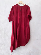 RED HAND-DONE BANDHANI DRAPE KURTA  WITH PANTS