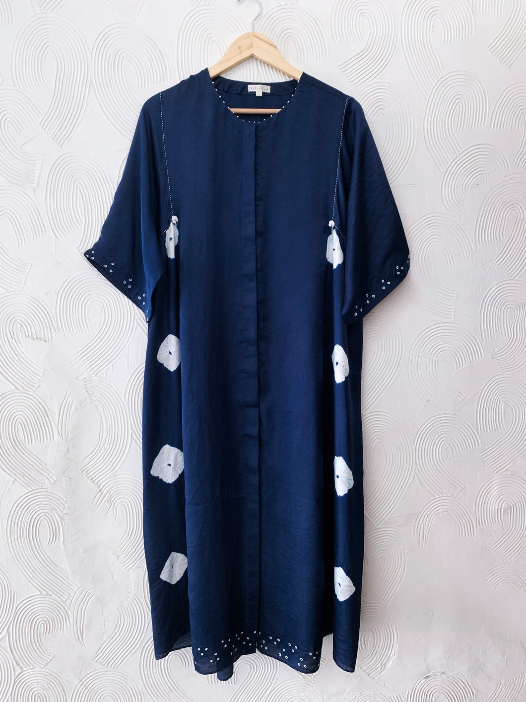 INDIGO SILK BANDHANI PANEL DRESS