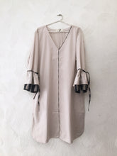 Load image into Gallery viewer, Beige Ruffled Sleeves Dress