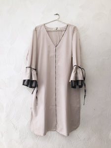 Beige Ruffled Sleeves Dress