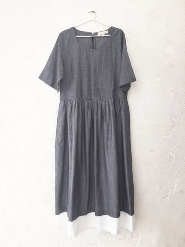 Charcoal and White Cotton Dress