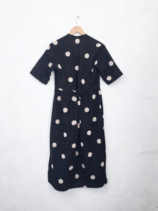 100% Cotton Black and polka bodice dress