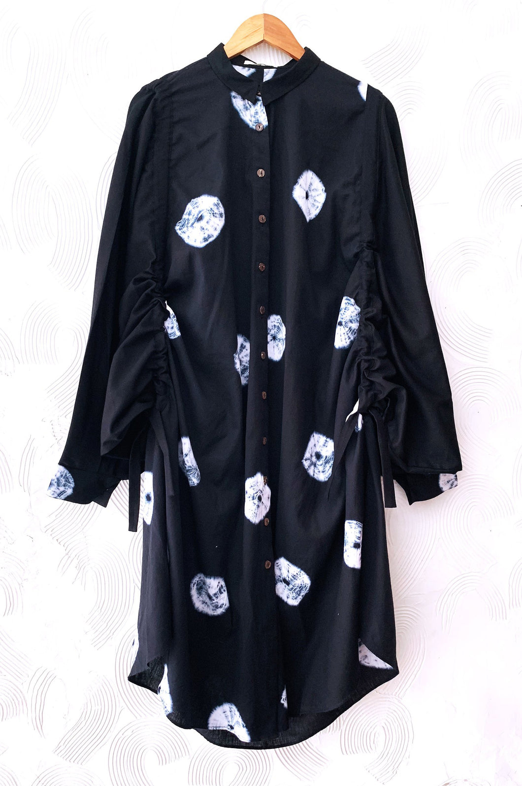 Black Shibori Drawstring Tunic