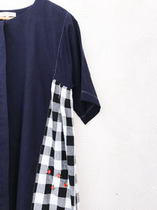 Blue Cotton and Checks Dress