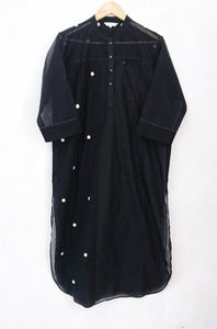 Black Chanderi and Crochet Polka Shirt Dress