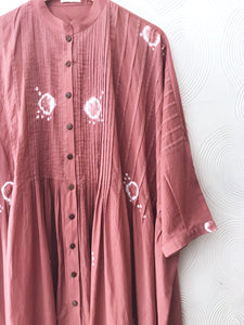 Peach Pleated Hand-done Shibori Tunic