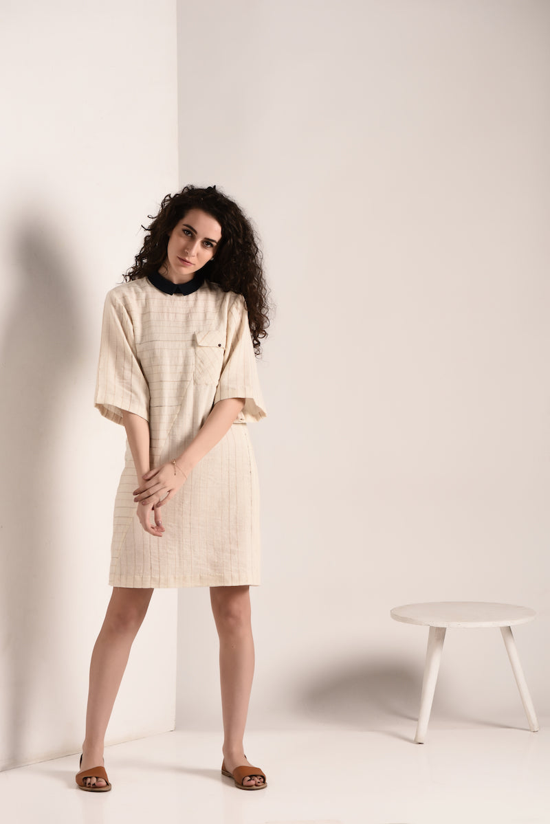 Anti-fit handspan and handwoven cotton Dress