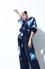 Load image into Gallery viewer, Blue Hand Done Shibori Jumpsuit