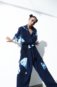 Blue Hand Done Shibori Jumpsuit