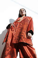 Load image into Gallery viewer, Silk Hand done Bandhani Rust Blazer Set