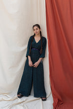 Load image into Gallery viewer, TEAL BANDHANI JUMPSUIT