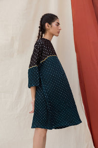 Teal Hand Done Bandhani Anti-fit Dress