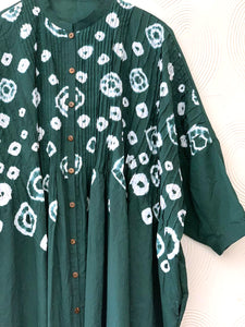 Bottle Green Hand-done Shibori Pleated Kaftan