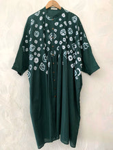 Load image into Gallery viewer, Bottle Green Hand-done Shibori Pleated Kaftan