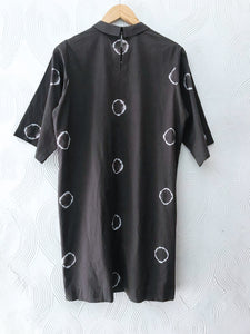 Olive Shibori Rings Shift Dress