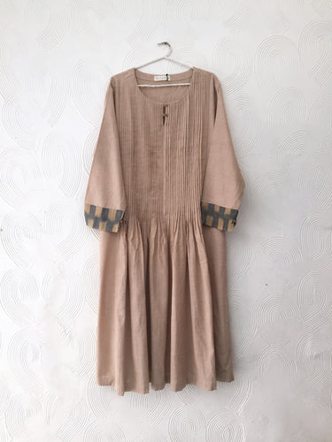 Beige Pleated Kurta