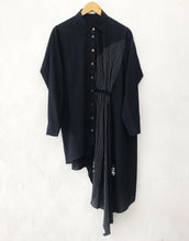 Load image into Gallery viewer, Black asymmetrical shirt dress with embroidery