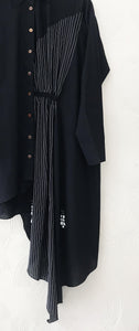 Black asymmetrical shirt dress with embroidery