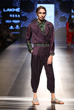 Load image into Gallery viewer, Blackcurrant bandhani jumpsuit