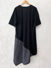 Load image into Gallery viewer, Black AsyMmetrical Drape Dress with Drawstring Detail