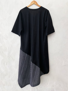 Black AsyMmetrical Drape Dress with Drawstring Detail