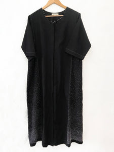 Black side panel embroidered dress