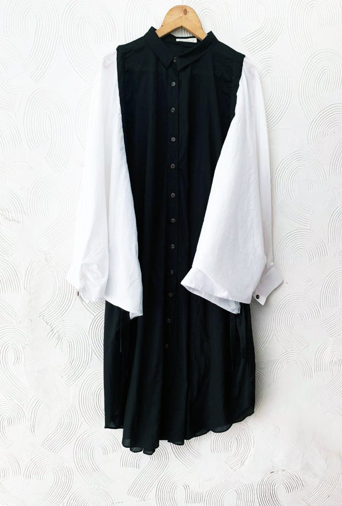White and Black Drawstring Tunic