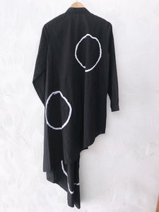 Black Shibori Assymmetrical Shirt Dress