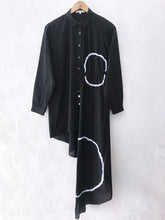 Load image into Gallery viewer, Black Shibori Assymmetrical Shirt Dress