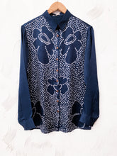 Load image into Gallery viewer, Blue bandhani floral silk shirt