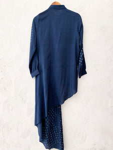 Blue Hand-done Bandhani Dori Dress