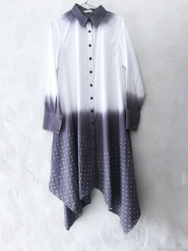 Purple and White Bandhani Tunic