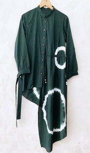Bottle Green Shibori Asymmetrical Shirt Dress