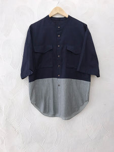 Blue and Green Stripes Cotton Shirt