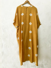 Load image into Gallery viewer, Hand-done Shibori Mustard Kaftan