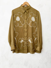Load image into Gallery viewer, Mustard bandhani floral silk shirt