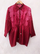 Red Shibori Drawstring Top