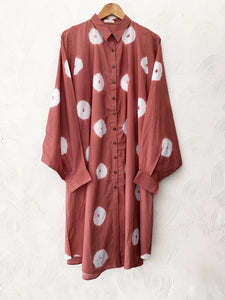 Peach Shibori Drawstring Tunic