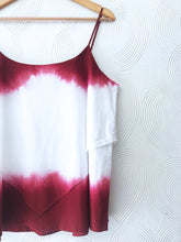 Load image into Gallery viewer, Maroon Dip Dye Ruffle Top
