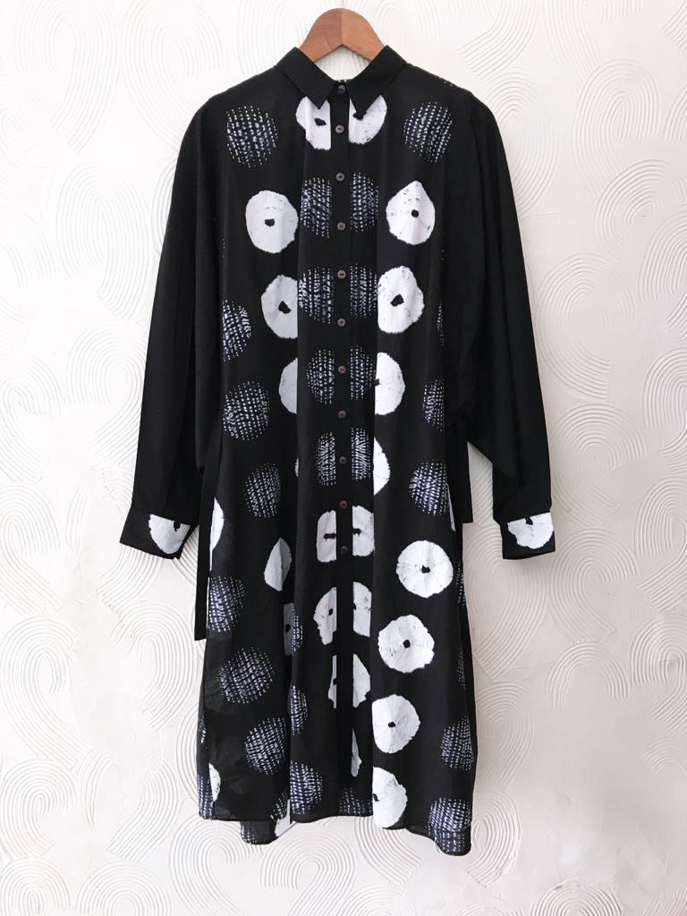Black Broken Shibori Drawstring Tunic
